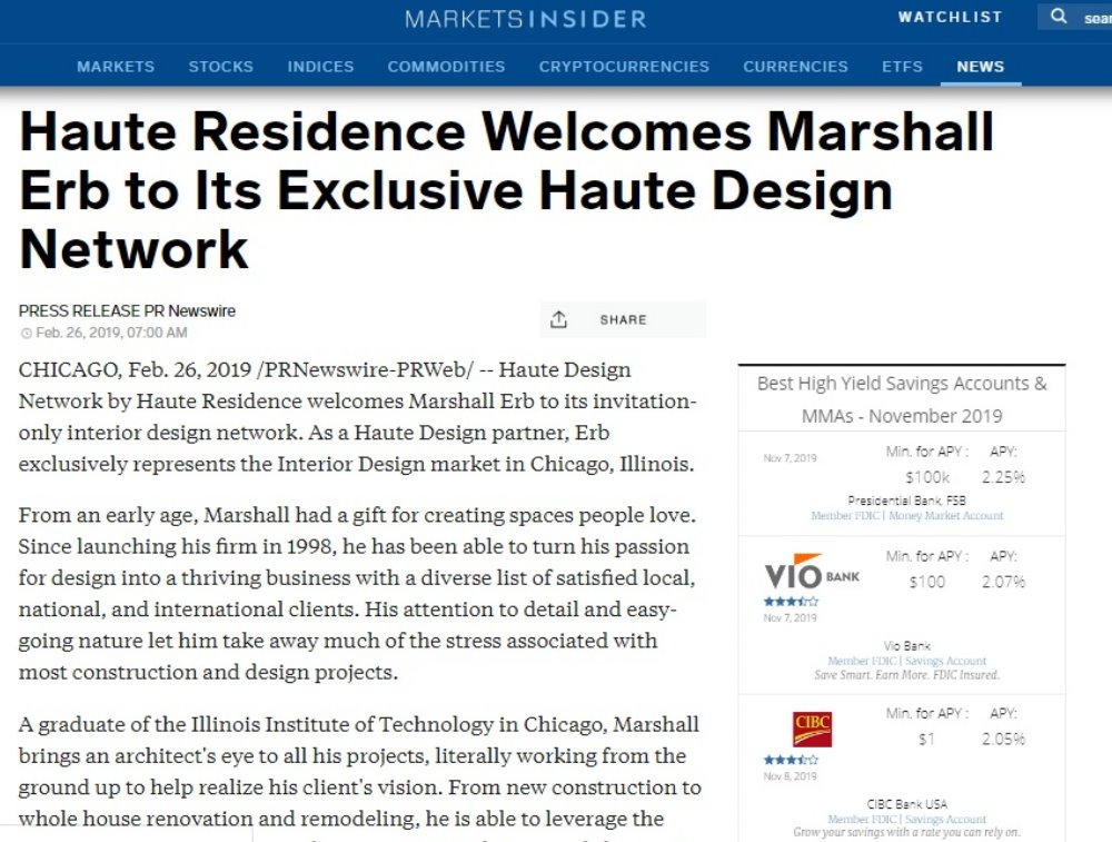 cover-c-Haute Residence Welcomes Marshall Erb to Its Exclusive Haute Design Network