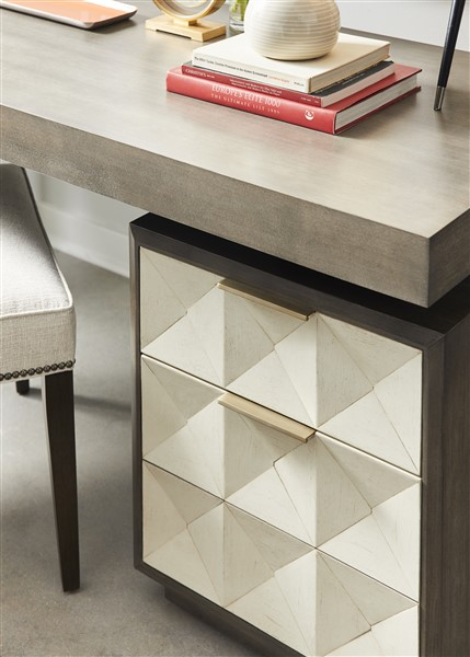 VAnguard Furniture- mixed finishes with metal accents and tons of texture